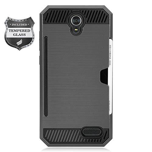 - Eaglecell - Compatible with ZTE ZMax Champ Z917, AVID 916, ZMax Grand, Grand X3, Warp 7 - Brushed Hybrid Case w/Card Slot + Tempered Glass Screen Protector - CS2 Gray