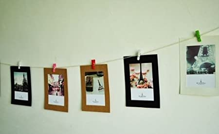 kraft paper photo frame diy hanging wall album picture collage with clips rope