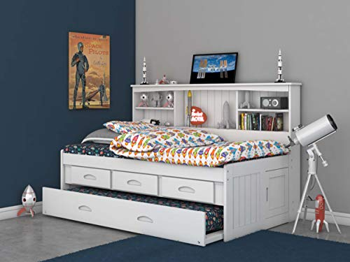 Discovery World Furniture Twin Bookcase Daybed with 3 Drawers & Trundle White (Storage White Trundle)
