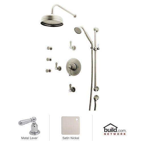 Rohl U.KIT67LS-STN Georgian Era Shower System with Thermostatic Valve Trim, Shower H, Satin Nickel ()