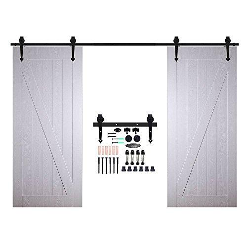 CCJH Double Door Wood Sliding Barn Door Hardware Steel Basic Antique Heart-Style Track Set Black