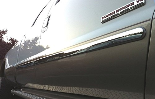 Works with 2005-2007 Ford F250//350 Superduty Crew Cab Rocker Panel Chrome Stainless Steel Body Side Moulding Molding Trim Cover 2 Wide 2PC Overlay Made in USA