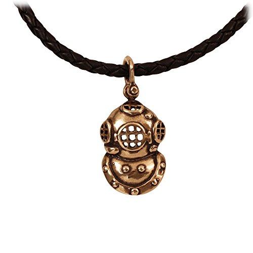 Vintage Style SCUBA Helmet in Marine Grade Bronze on 20 Inch Black Leather Necklace