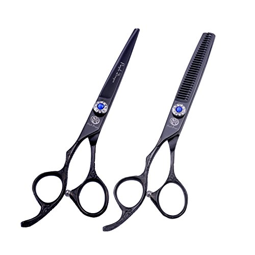 Purple Dragon 6.0 inch Professional Left-handed 440C Salon Hair Cutting Scissors - Hairdressing Thinning Shears - Perfect for Left Hand Barber and Home Use (Black) by Purple Dragon