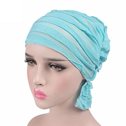 vovotrade Cuello árabe de la envoltura de la cabeza del turbante de la bufanda de la bufanda del sombrero de Chemo del cáncer de la colmena de la gasa de la mujer cielo azul
