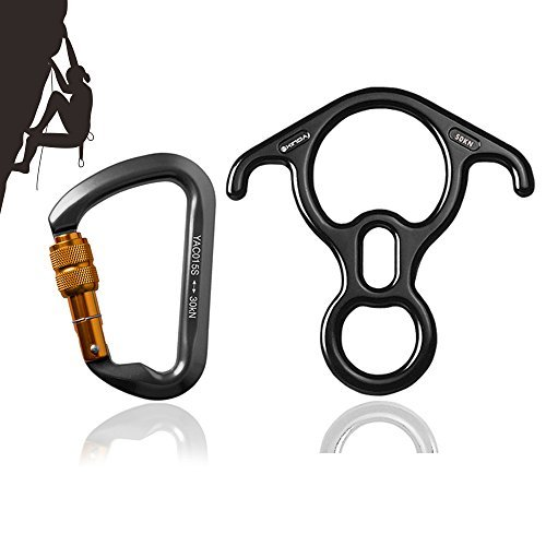 Metacrafter Rock Climbing Carabiner + Terminal 8 Descender, 30kn Aluminum Screwgate Screw Lock Locking Carabiner with 50kn Rescue Figure 8 Descender for Firefighter Climb Rappelling Belaying (Rock Climbing Rigging)