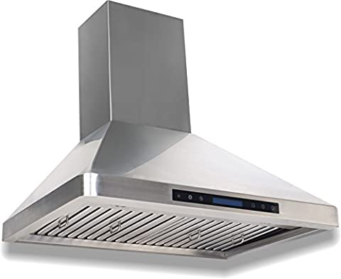 Cycene Professional Series Wall-Mounted Stainless Steel Range Hood w/ Baffle Filter @ 600CFM - - Top Fuel Exhaust