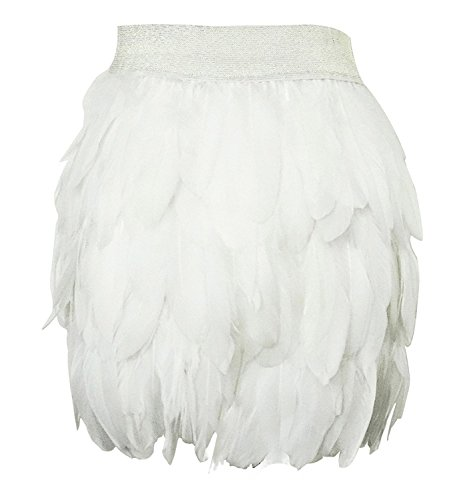 L'VOW Women Real Natural Feather Fashion Mid Waist Mini A-line Skirt (M(8-10), -