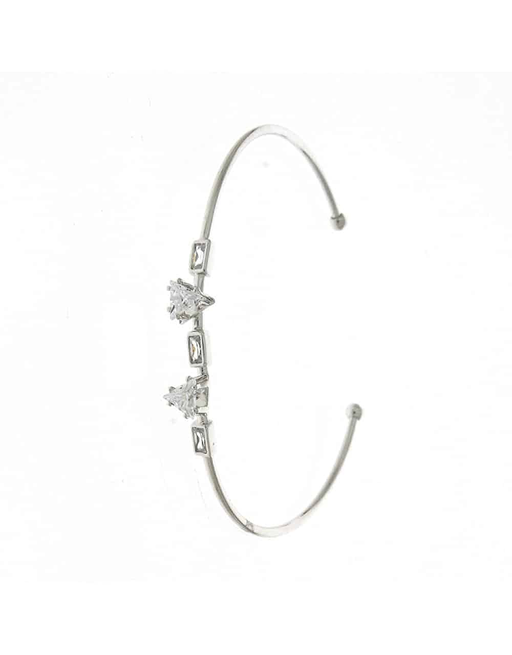 Anuradha Art Stylish Silver Tone Studded with White Stones Adjustable Kada//Hand Bracelet for Women//Girls