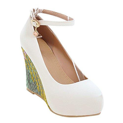 Pied De Charme Femmes Sweet Wedge Plate-forme Talon Haut Cheville Sangle Pompe Chaussures Blanc
