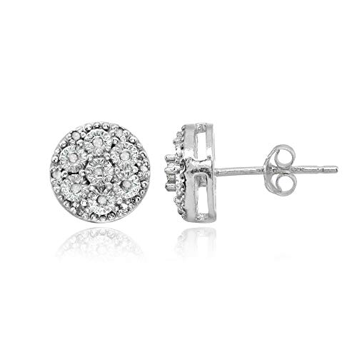 Sterling Silver Polished Dainty Round Diamond Accent Stud Earrings, JK-I3