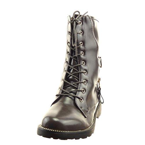 Sopily - damen Mode Schuhe Stiefeletten Combat Boots Hohe Reißverschluss Schleife golden - Grau