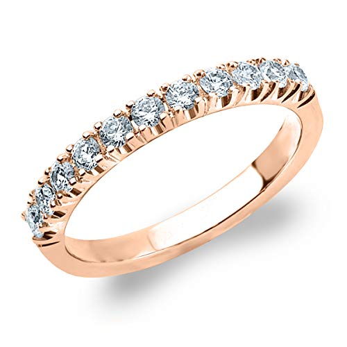 .50ct Genuine Diamond Ring, 4-Prong Wedding Anniversary Band in 10K Rose Gold - Finger Size - 4 Prong Genuine Diamond