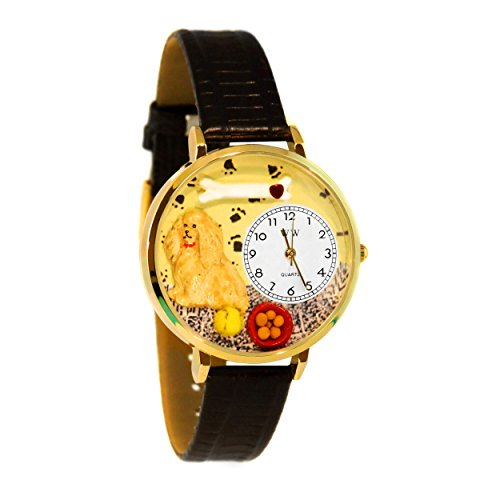 Whimsical Watches Unisex G0130027 Cocker Spaniel Black Skin Leather Watch ()