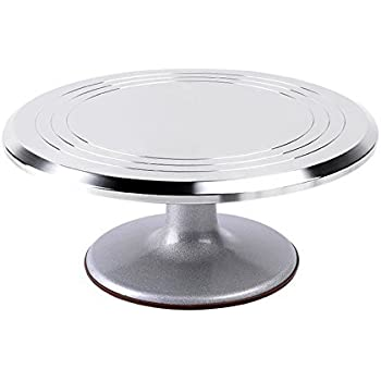 Ohuhu Aluminium Alloy Cake Turntable 12 Inch Revolving Rotating Cake  Decorating Stand With Non Slip Rubber Bottom