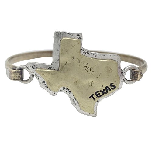 Gypsy Jewels Two Tone State Shape Map Hook Wire Bangle Bracelet (Texas)
