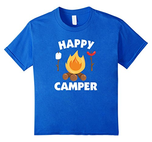 Price comparison product image Kids Happy Camper T-Shirt Funny Campfire roasting Marshmallows 12 Royal Blue
