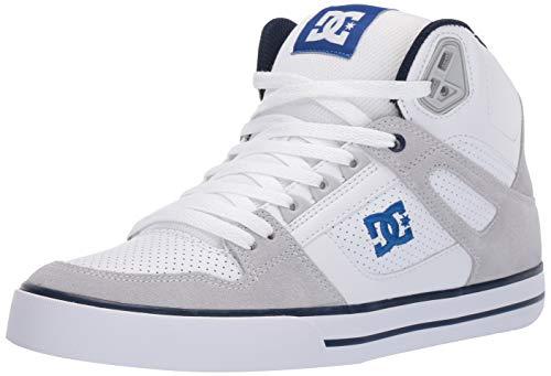 DC Men's Pure HIGH-TOP WC Skate Shoe, White/Blue, 8 M US