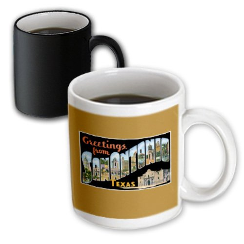 3dRose mug_170627_3 Greetings from San Antonio, Texas Scenic Postcard Reproduction Magic Transforming Mug, - In Antonio Outlets San Texas