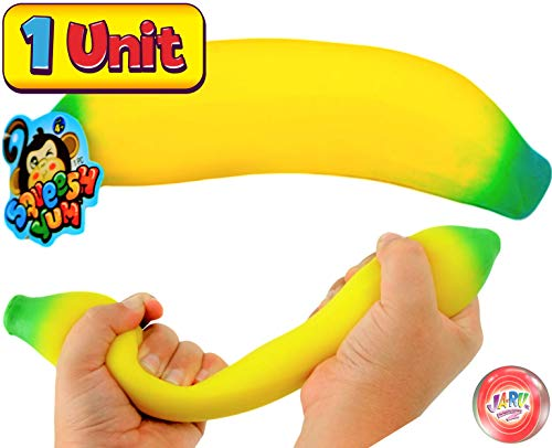 JA-RU 4 Fidget Toys Kit, Stretchy Banana, Doug Ball, Sand Ball & Stretchy Hot Dog. Stretchy Toys Stress Relief, Hand Therapy, Autism Toys for Kids and Adults. Stress Relief Toys 3340-401-5558-5564p