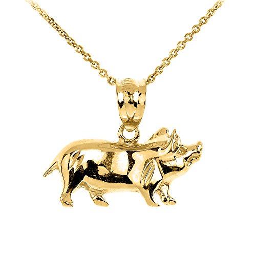 Animal Kingdom High Polish 14k Yellow Gold Pig Charm Pendant Necklace, 16