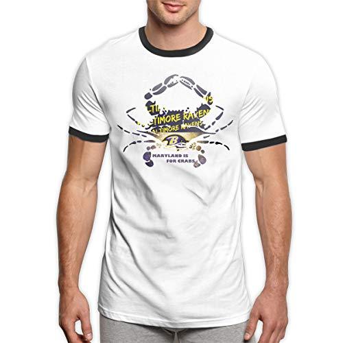 a6ec4d0f MiiyarHome Men's Ringer T-Shirt Ravens Steelers, Men Short Sleeves Jersey  Causal Tee Black M