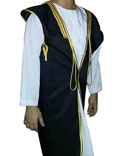 Saudi Arabian Kids Costume (Kids Children Bedouin Arabian Saudi Gulf Abaya Thobe Galabeya Muslim Jilbab 400 (M Length =18
