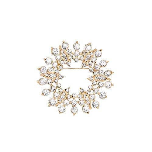 GYAYU Wreath Brooch Pins for Women,Gold Tone Austria Rhinestone Crystal Brooch Pins Jewelry(Wreath) ()