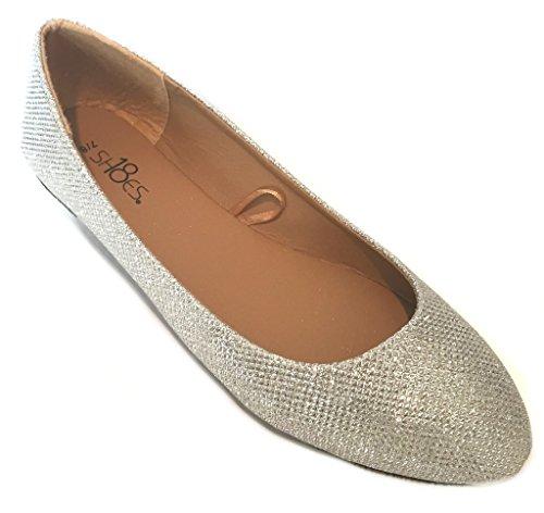 Shoes 18 Womens Ballerina Ballet Flat Shoes 8600 Silver Glitter ()