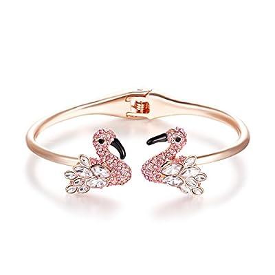 Paitse Jewelry Crystal Inlaid Flamingo Shape Women's Fashion bangle Bracelet