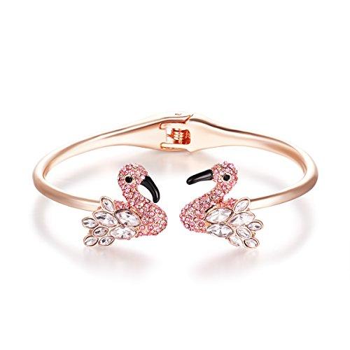 Flamingo Shape Women's Fashion bangle Bracelet (Pink)
