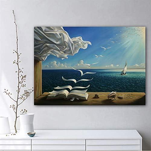 Dongwall Salvador Dali Toile Art Print Affiche De Golven Boek Zeilboot Photo Toile schilderij Dagboek Van Ontdekking Porte Vladimir Kush sans Cadre 50x70