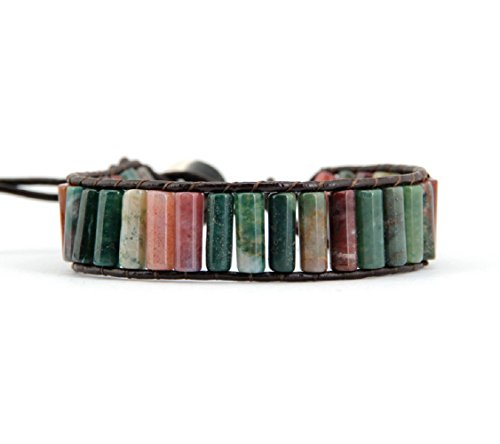 [Boho Surfer Leather Bracelet with Beaded Indian Agate Stones] (Indian Beaded Bracelet)