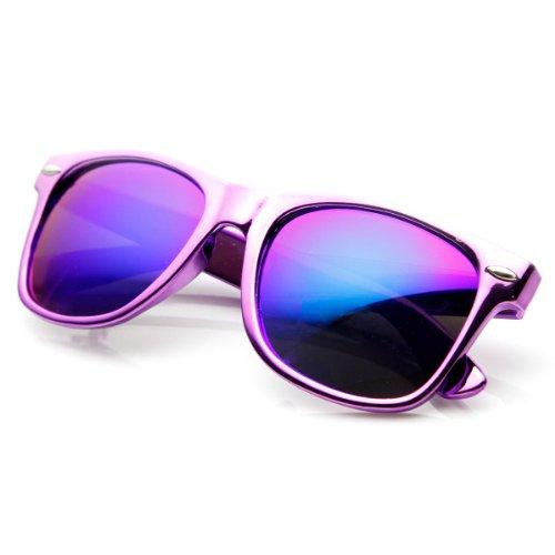 Chrome Reflective Coat Flash Mirror Lens Horn Rimmed Sunglasses (Purple)