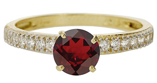 10k Yellow Gold Faceted Natural Genuine Red Ruby Round Engagement Band Wedding Ring Size 10.5 by Sac Silver