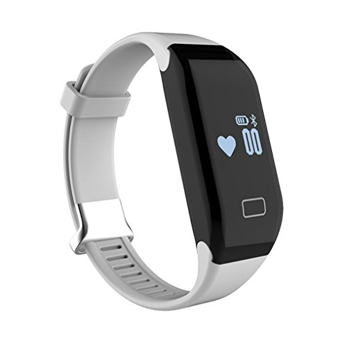 Intelligent sports bracelet heart rate monitoring waterproof Bluetooth pedometer bracelet in English language , white by GJX