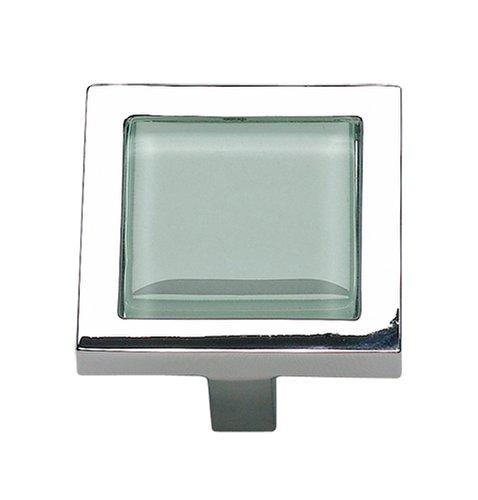(Atlas Homewares 230-GR-CH 1-3/8 inch Spa Green Square Knob, Polished)