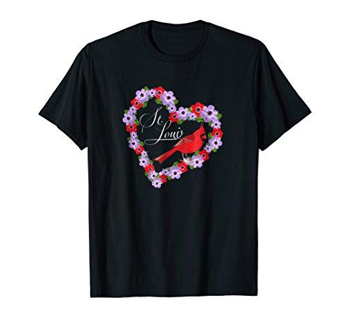 GGT | Saint Louis Red Cardinal Heart Souvenir Floral Tshirt