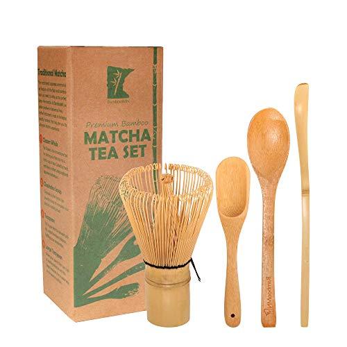 BambooMN Matcha Whisk Set - Golden Chasen (Tea Whisk) + Chashaku (Hooked Bamboo Scoop) + Tea Spoon - 1 Set