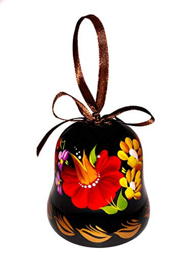Ukrainian Souvenir Hand Painted Lacquered Wooden Decorative Bell with Ethnic Petrykivka Floral Painting, a Nice Home Decor Accent Item in a Gift Box for Women, Hanging or Desktop (Rose and Yellow)