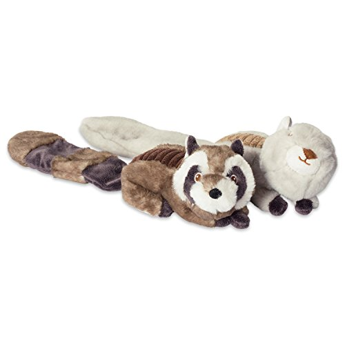 Bone Dry DII Crinkle Noise, Squeaking Plush Body Dog Toy, 2 Piece Lucy Squirrel & Sophie Raccoon Woodland Friends Pet Toy for Small, Medium and Large Dogs Bamboo Dog Plush Toy