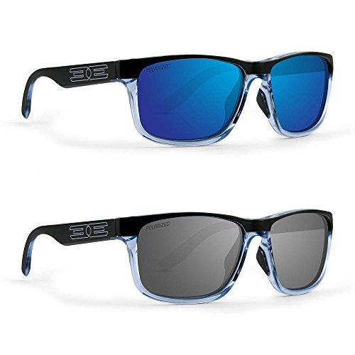 2 Golf Sport Polarized Epoch Delta Sunglasses Crystal Blue Black Frame & Smoke Lens & Crystal Blue Black Frame & Blue Mirror Lens