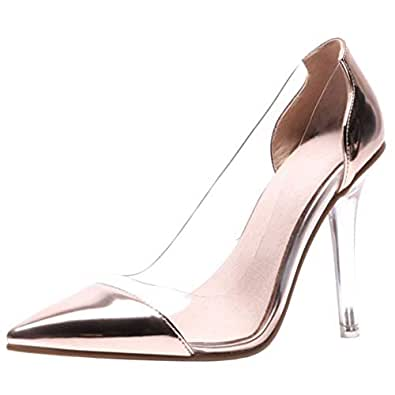 Zanpa Women Fashion Stiletto Heels Pumps Pointed Toe Clear Dress Shoes Wedding Party Heels Slip On Transparent Gold Size 33