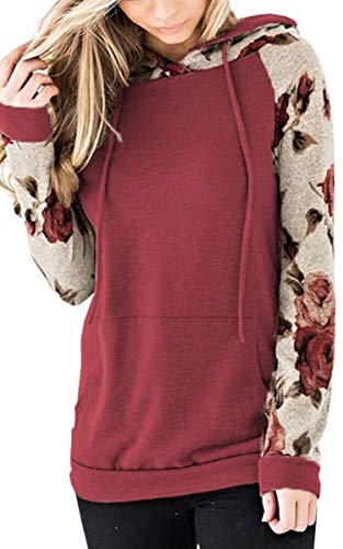 (Angashion Women's Floral Printed Long Sleeve Pullover Hoodies Sweatshirt with Pocket Red XL)