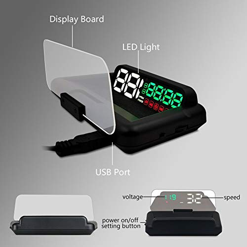 (Car accessories - C500 OBD2 HUD Head-Up Display with Mirror Digital Car Speed Projector Computer Fuel Mileage CSL2018)