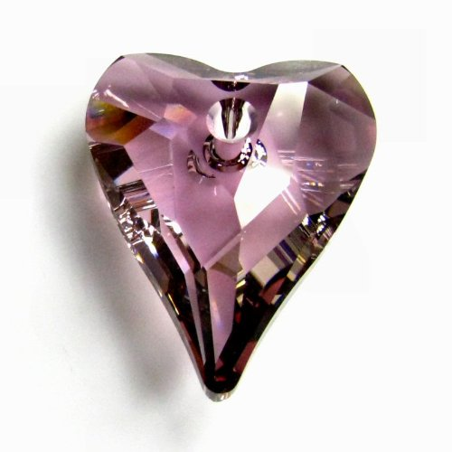 2 pcs Swarovski Crystal 6240 Wild Heart Antique Pink Charm Pendant Bead 12mm / Findings / Crystallized (Swarovski Crystal Heart Charm)