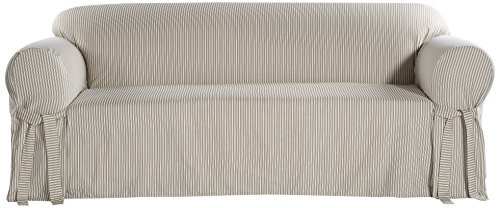 Classic Slipcovers BT10RAST One Piece Stripe Twill Sofa Slipcover, Khaki/White