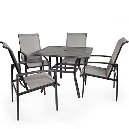 Barton 5 Piece Outdoor Dining Set Square Patio Table Mesh