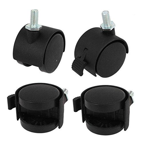 Swivel Lock Caster 8mm Screwstem 1.5-inch Dia Double Wheel 4 Pcs Black