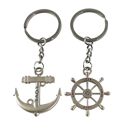 Holder Wheel Key Steering (Axmerdal 1 Pair Anchor Steering Wheel Couple Keychain Creative Fashion Key Chain Ring for Boyfriend Girlfriend Lovers)